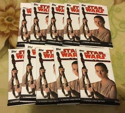 10x Topps STAR WARS: The Last Jedi Trading Cards Factory Seal Pack (BRAND NEW)