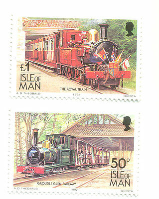 Isle of Man-1992 printing Rail 50p and £1.00 imprint date mnh-trains-railways