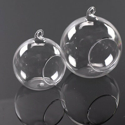 Clear Stylish Glass Round Hanging Candle Tea Light Holder Candlestick Home - 6CM