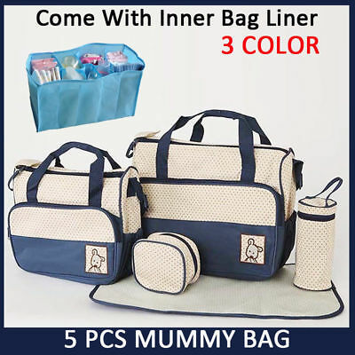 5 pcs Waterproof Diaper Nappy Bottle Bags Changing Liners Bag Mummy Baby Travel