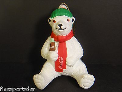 1997 COCA COLA POLAR BEAR Advertising Ornament ~ Display Hang Plastic