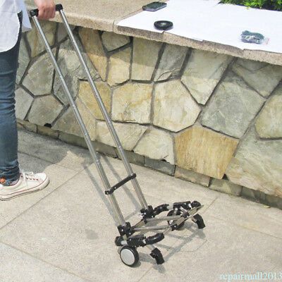 Folding Shopping Cart Trolley Stainless Steel Luggage Wheels Lightweight Durable
