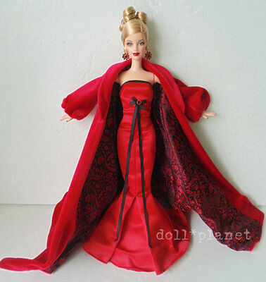 New! WINTER CONCERT BARBIE DOLL Exquisite Red Gown Mackie de-boxed w/stand & COA