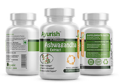 Ashwagandha 5% Withanolids Extract 500 mg Capsules Anti-stress Immune Support