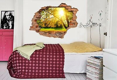 3D Sunny Forest 8 Wall Murals Stickers Decal breakthrough AJ WALLPAPER AU Kyra