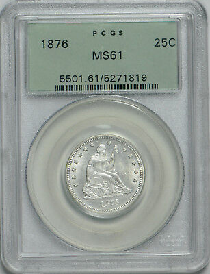 1876 Seated Liberty Quarter MS 61 PCGS *OGH*
