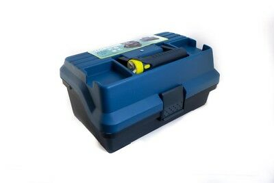 Fishing Tackle Box with Torch Tool Box Gear Storage 2 Trays Case Handheld Value