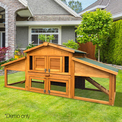 Wooden Chicken Coop Backyard Nest Box Hen House Poultry Cage Hutch 2 Storey Tray