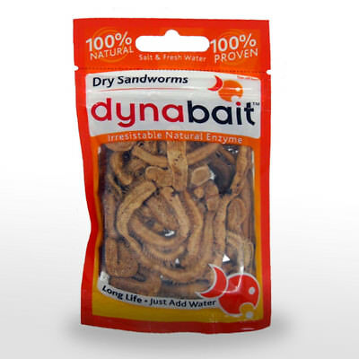 Dynabait Dry Sandworms Bait Fishing Natural Dehydrated  Worms Blood Sand