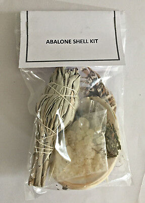 Abalone Shell and Sage Wand Kit with Feather-Copal-Cedar Complete Smudge Kit