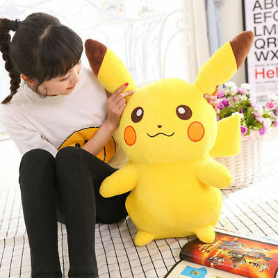 "Large Stuffed Dolls POKEMON Anime Pikachu Soft Plush Animal Toys 13.8"" Kids Gif"
