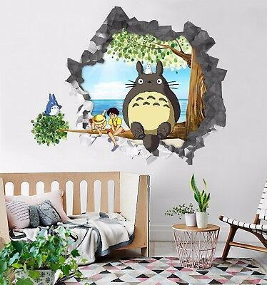 3D Totoro Cartoon 8 Wall Murals Stickers Decal breakthrough AJ WALLPAPER AU Kyra