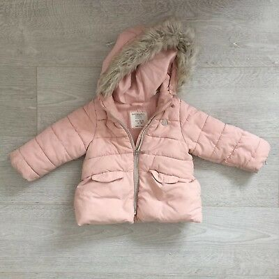 Baby Girls Pink Winter Fur Hooded Zara Coat 12-18 Months