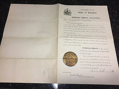 Josiah Grout Vermont Governor 1896-1898 Signed in 1896 Large document