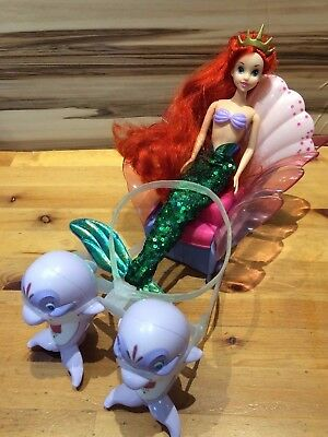 Disney princess The Little Mermaid Ariel Sea Dolphin Carriage Chariot & Doll