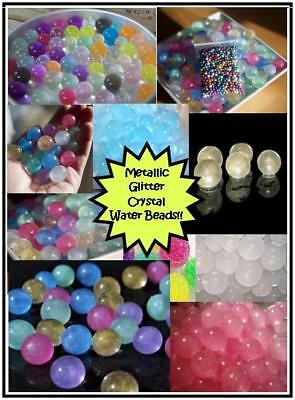 METALLIC GLITTER Crystal Soil Water Beads Orbeez 10g, 25g, 50g MAKES 5++ LITRES