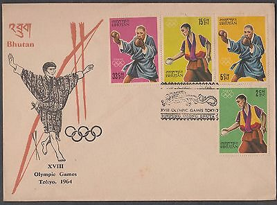 Bhutan 1964 Japan Tokyo Olympic Games 7 Values Set On 2 Covers