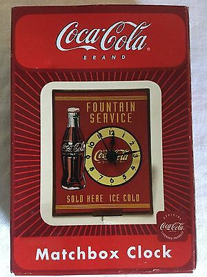 Coca Cola Matchbox Clock Fountain Service Sold Here Ice Cold