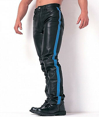 Men's Real Leather Bikers Levi's Style 501 Bikers Pants Red/Blue/White Stripes