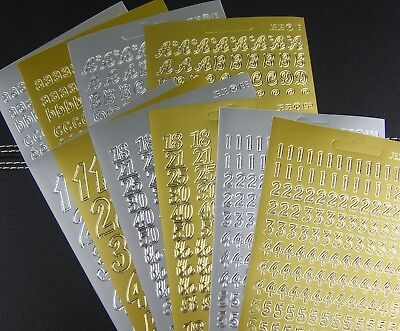 Letters & Numbers Peel Off Stickers! In Gold Or Silver - All Buy 4 Get 1 Free!