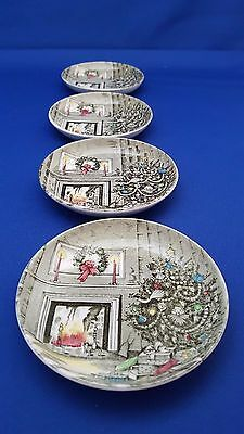 Lot 4 Vtg Johnson Brothers Merry Christmas Coasters Nut Dish Butter Pats Evc