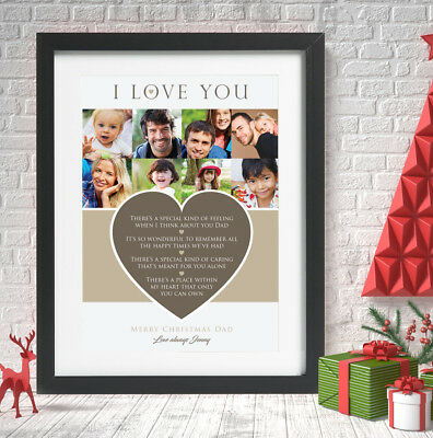 Personalised Christmas Dad Mum Photo Collage Love Heart Print Message Word Art