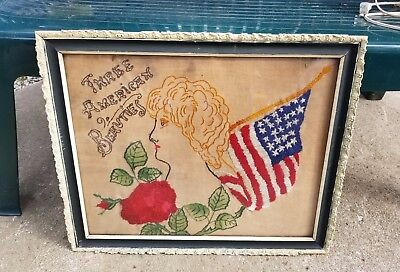 Antique Needlepoint Sampler Framed Three American Beauties Americana Needlepoint