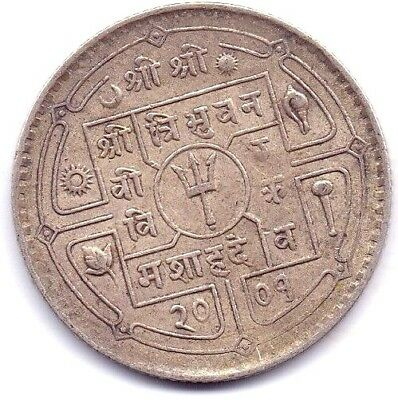 1949-1955 Nepal Silver Fifity paisa  King Tribhuvan Extra Fine Coin