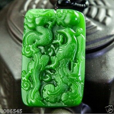 Exquisite China natural green jade hand carved pendant Dragon Phoenix
