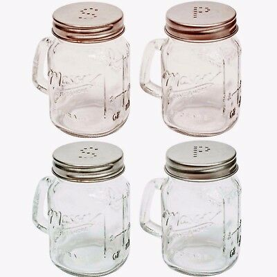 MASON JAR Salt And Pepper Set Glass Shakers - Kitchen / Cafe - Copper Or Silver
