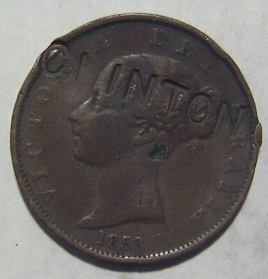 "1853 British Half Penny Counterstamped ""CLINTON"" Take a Look"