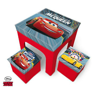 Disney Cars 3 Kids Boys Table and 2 Storage Chairs set 3 pcs