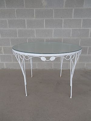 "Vintage Wrought Iron Woodard Style Round Glass Top Table 42""W x 29""H"