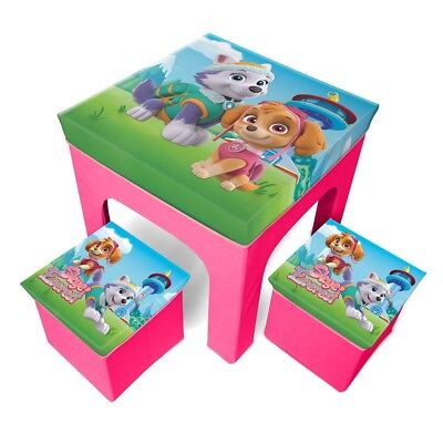 Paw Patrol Kids Girls Table and 2 Storage Chairs Set set 3 pcs