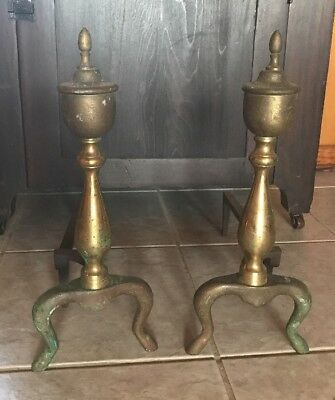 Pair of Antique French Style Brass Footed Fireplace Andirons Log Holders