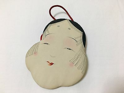 Real OKAME ornament, Hand made&writing, Antique Japanese doll, one of a kind