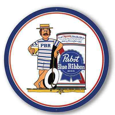 Pabst Cool Blue Beach - Metal Sign - 24 Inch Diameter