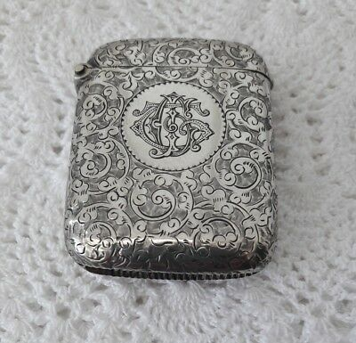 Antique Victorian Sterling Silver Vesta Case - Birmingham 1893