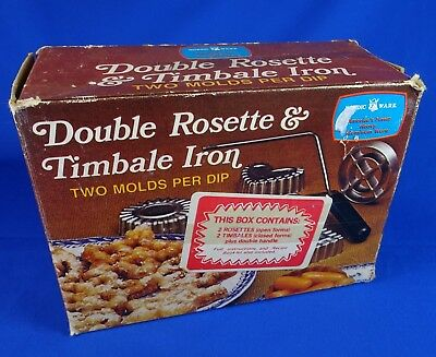 Nordic Ware Rosette & Timbale Iron Set 5 Molds Wood Handle In Original Box