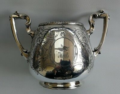 Vintage Silver Plate Caddy Tea/Sugar Twin Handled Vase Urn Floral Scroll Birds