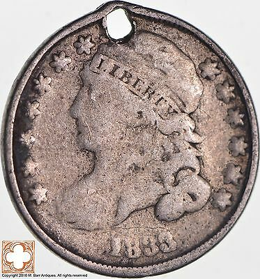 1833 Capped Bust Dime *Condition: Hole *5255