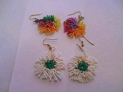 TATTED Earrings Festive Cream & Green Spring Flowers NEW  Dove Country Tatting
