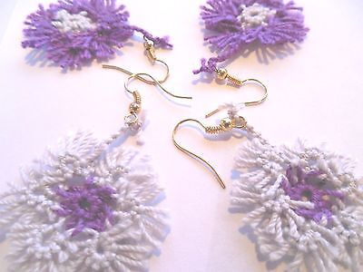 TATTED Earrings Purple & Gray Spring Flowers NEW by  Dove Country Tatting