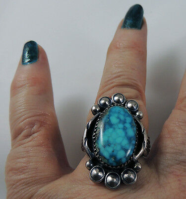 Navajo Vintage Gorgeous Water Webbed Turquoise Ring Size 8 Sterling Silver .925