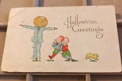 Antique Halloween Post Card-Embossed- Halloween Greetings Fairman Co