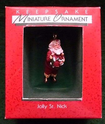 "Hallmark Keepsake Miniature Ornament  ""Jolly St. Nick"" 1988  Mint"