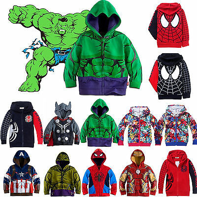 Kid Boys Superhero Iron Man Hoodie Coat Jacket Sweatshirt TopS Zipper Outwear