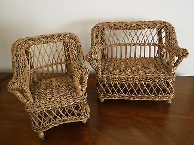 Antique 1930's ca Child's Doll Display Play Wicker Chair & Couch Appraised