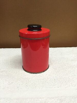 Vintage Red Tin Round Canister With Lid
