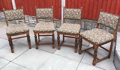 A Lovely Quality Set of 4 Antique / Vintage Carved Oak  Chairs/Dinning/Kitchen